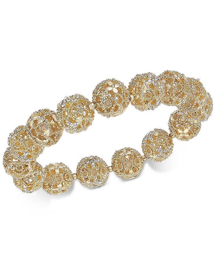 Charter Club - Gold-Tone Crystal Flower Stretch Bracelet