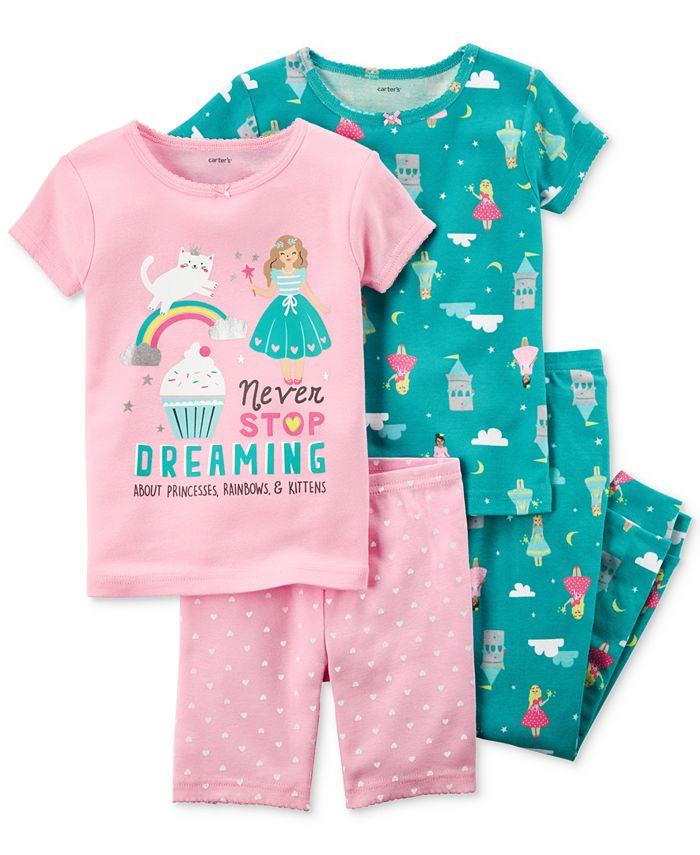 Carter's - 4-Pc. Dreaming Princess Cotton Pajama Set, Toddler Girls (2T-5T)