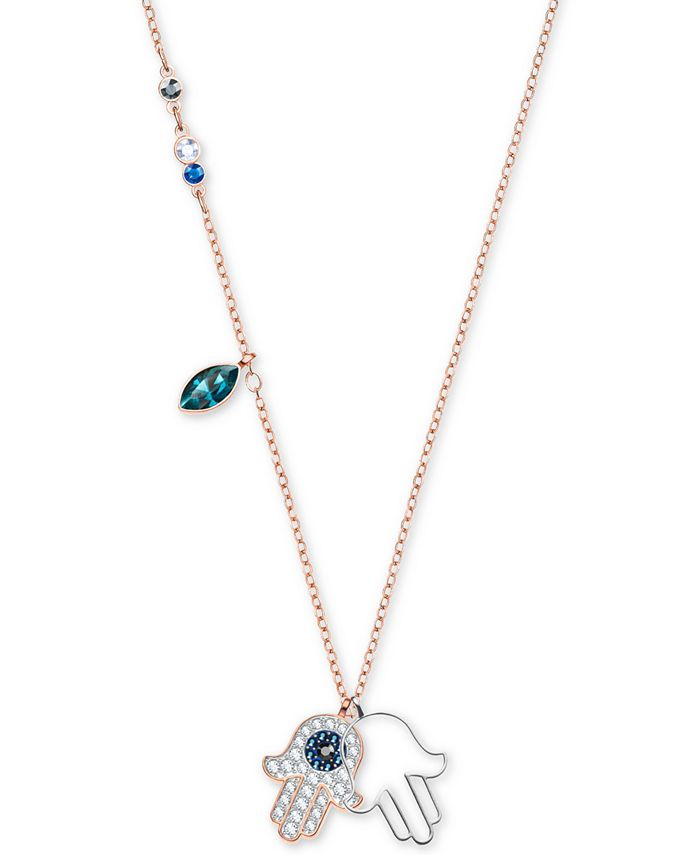 Swarovski - Two-Tone Multi-Crystal Hamsa Hand Pendant Necklace