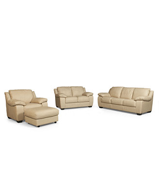 Blair Leather Living Room Furniture 4 Piece Set Full Sleeper Sofa Bed Loveseat Chair and