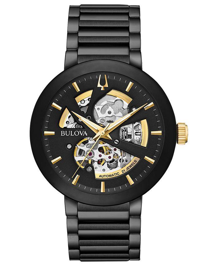 Bulova - Men's FuturoBlack Stainless Steel Bracelet Watch 42mm