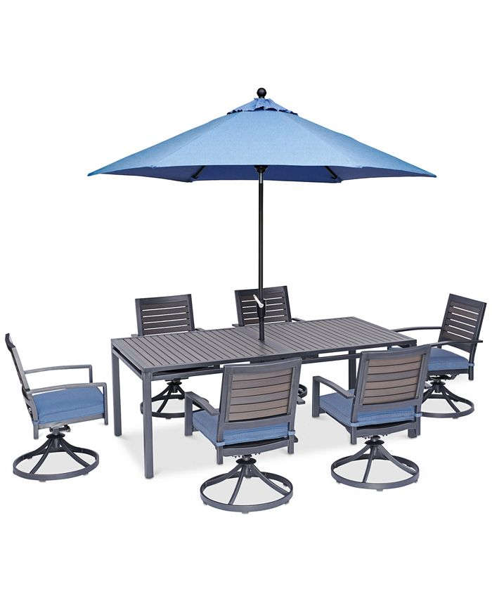 """Furniture - Harlough II Outdoor 7-Pc. Dining Set (84"""" x 42"""" Dining Table and 6 Swivel Rockers) with Sunbrella® Cushions"""