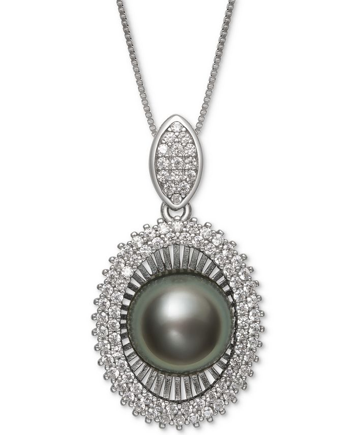"""Macy's - Black Cultured Tahitian Pearl (10mm) & Cubic Zirconia 18"""" Pendant Necklace in Sterling Silver"""