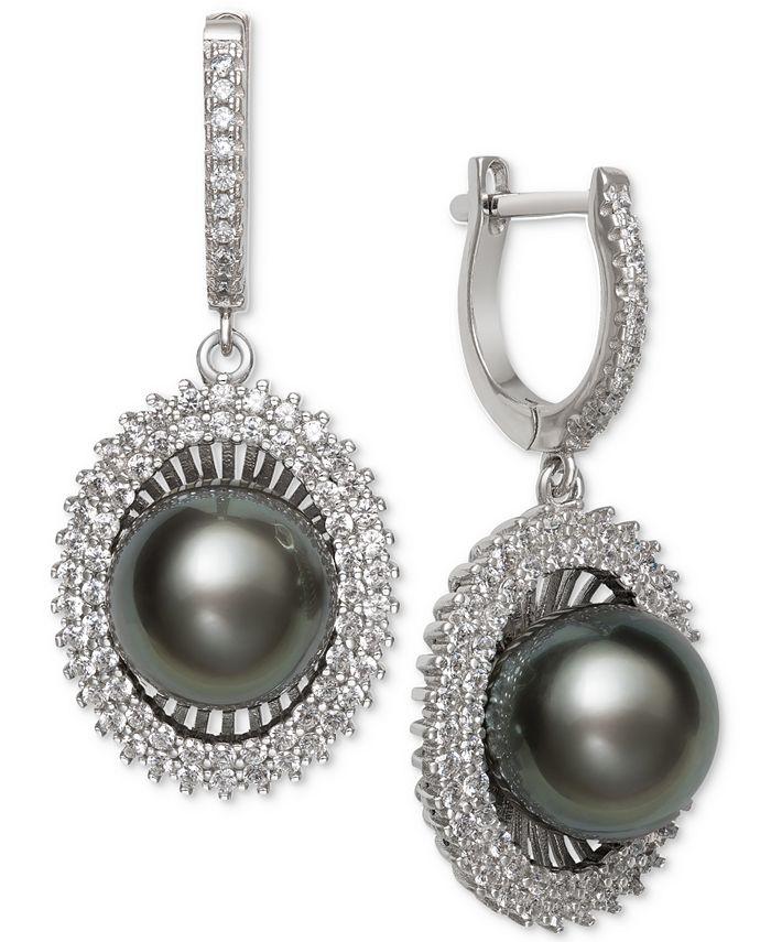 Macy's - Black Cultured Tahitian Pearl (10mm) & Cubic Zirconia Drop Earrings in Sterling Silver