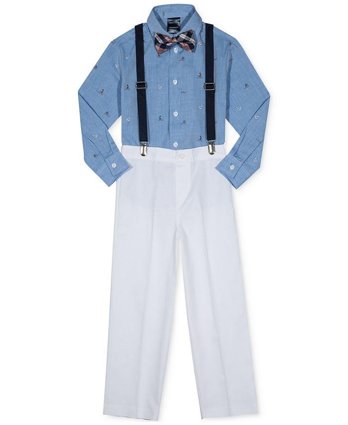 Nautica - 4-Pc. Ocean-Print Shirt, Pants, Suspenders & Bowtie Set, Little Boys