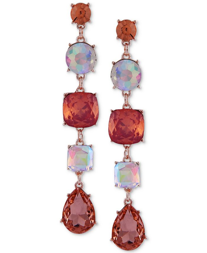 GUESS - Rose Gold-Tone Colored Crystal Drop Earrings