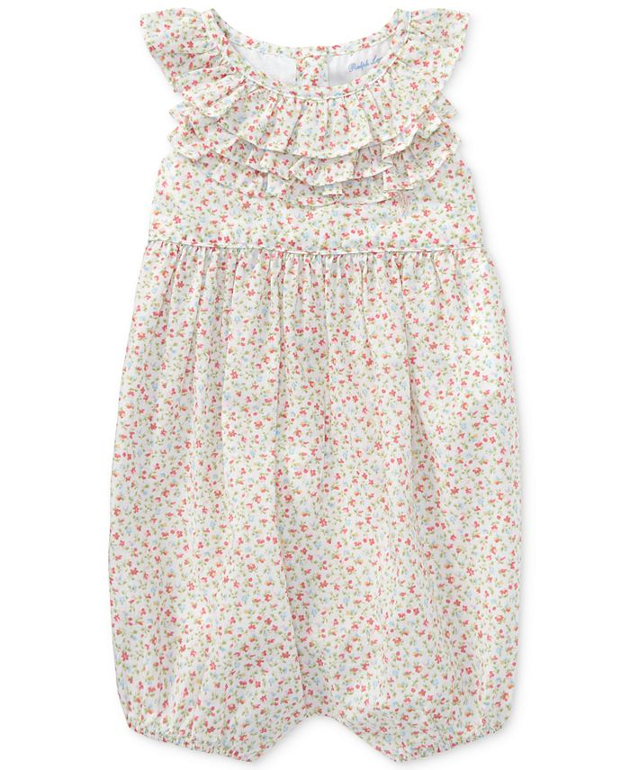 Polo Ralph Lauren - Floral Ruffled Cotton Romper, Baby Girls