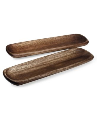 Noritake Serveware, Set of 2 Kona Wood Small Rectangular Platters
