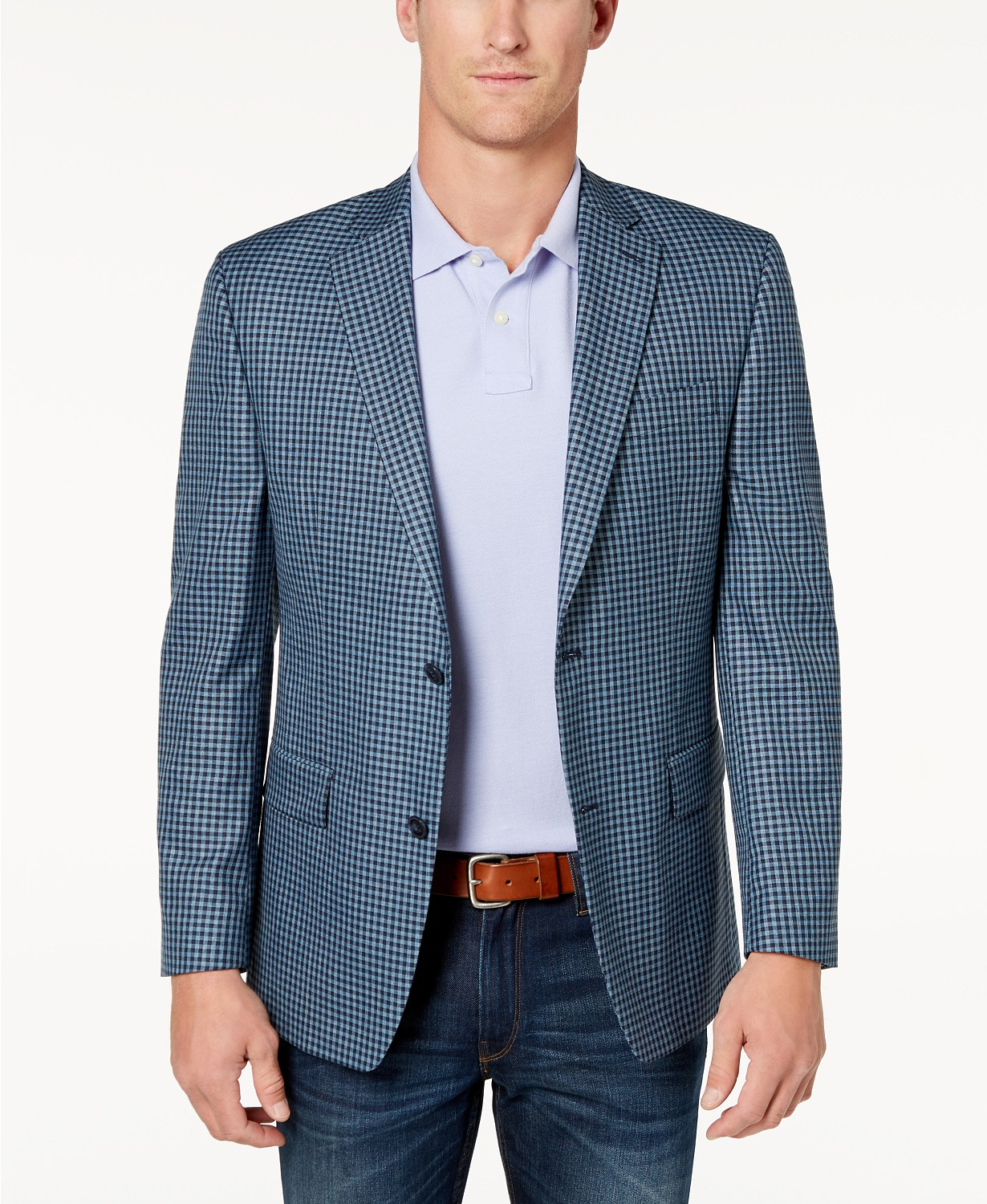 Michael Kors Mens Classic-Fit Blue Check Sport Coat