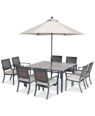 """Marlough II Outdoor Aluminum 9-Pc. Dining Set (62"""" Square Dining Table and 8 Dining Chairs) with Sunbrella® Cushions, Created for Macy's"""