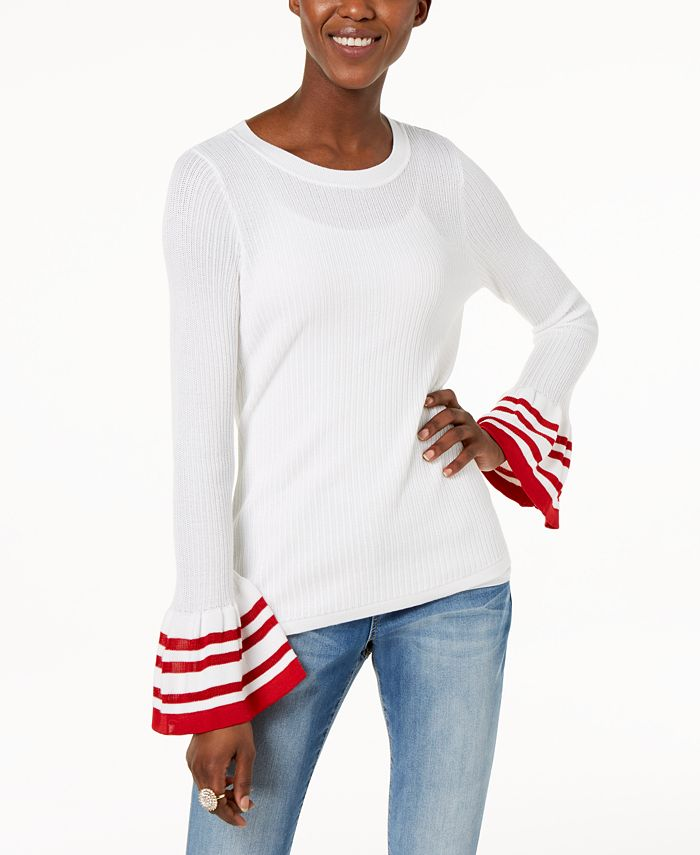 INC International Concepts - Striped Bell-Sleeve Sweater