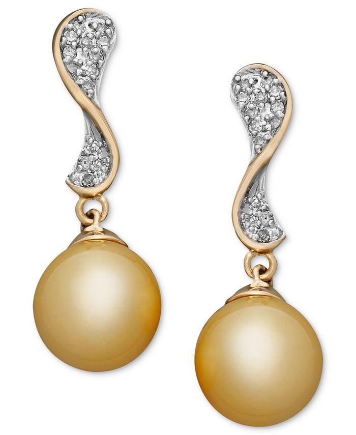 Macy's - 14k White Gold Earrings, Cultured South Sea Pearl (10mm) and Diamond (3/4 ct. t.w.) Stud Earrings