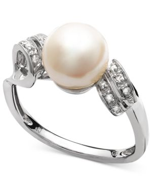 Belle de Mer Sterling Silver Ring, Cultured Freshwater Pearl (8mm) and Diamond Accent Double Loop Ring thumbnail
