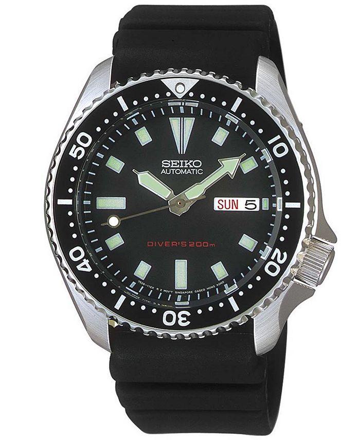 Seiko - Watch, Men's Automatic Black Polyurethane Strap 40mm SKX173