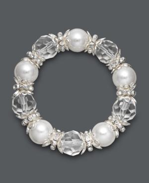 Charter Club Bracelet, Silver Tone Large White Bead Stretch