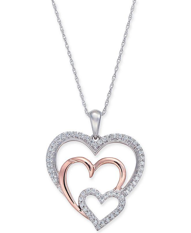"Macy's Diamond Two-Tone Triple Heart 18"" Pendant Necklace (1/4 ct. t.w.) in 14k White & Rose Gold"