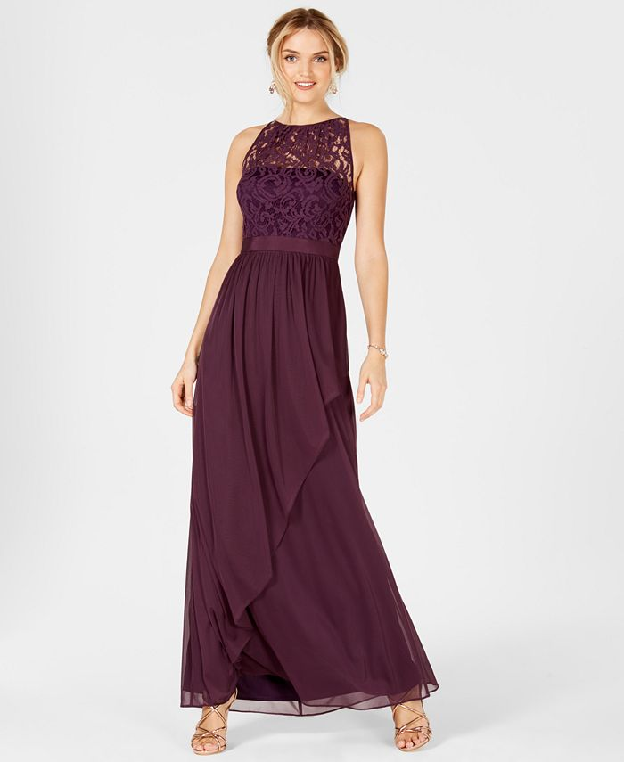 Adrianna Papell - Lace Tulle Stretch Halter Gown