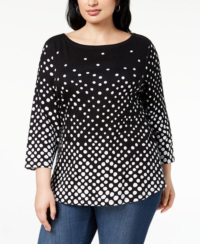Charter Club - Plus Size Cotton Dot-Print T-Shirt
