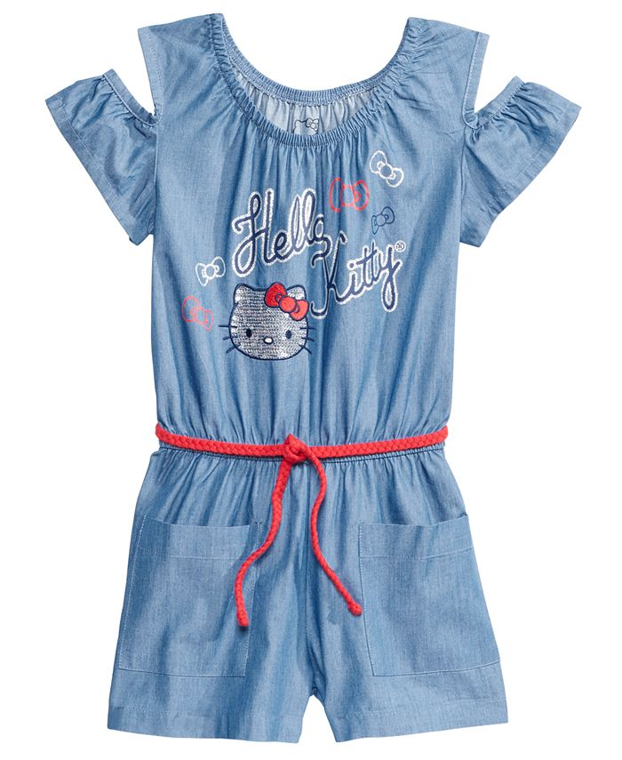 Hello Kitty - Cold Shoulder Chambray Romper, Toddler Girls