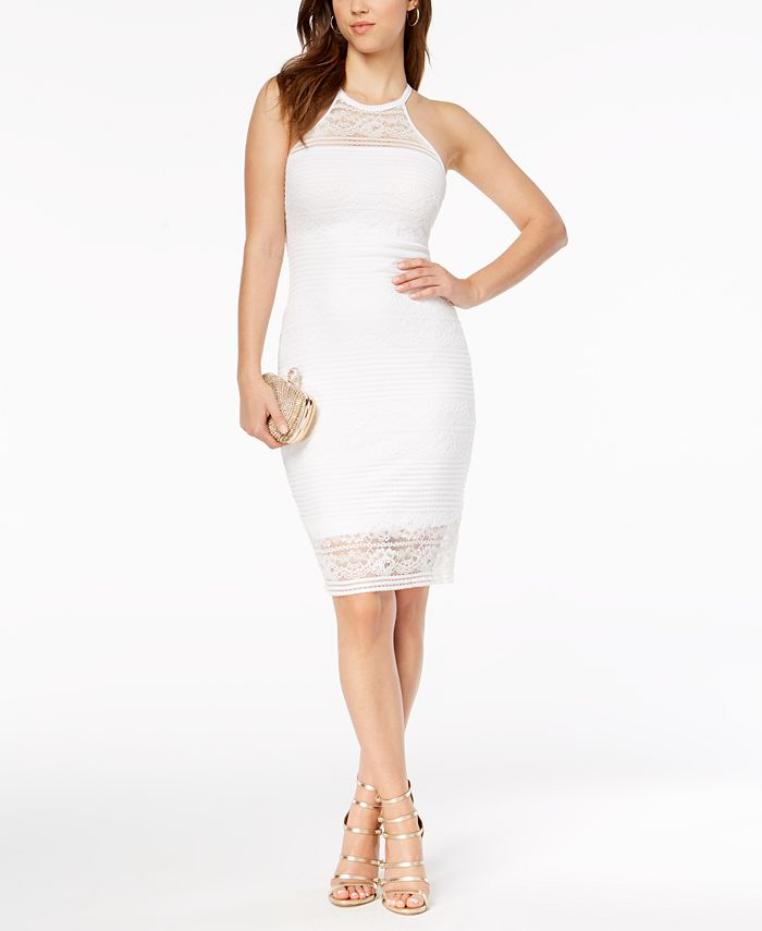 GUESS - Illusion Lace Ribbed Halter Dress