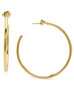 14k Gold Earrings, Polished Post Hoops