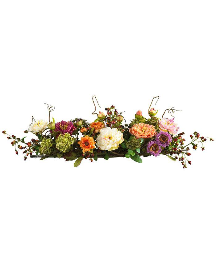 Nearly Natural - Mixed Peony Centerpiece Flower Arrangement
