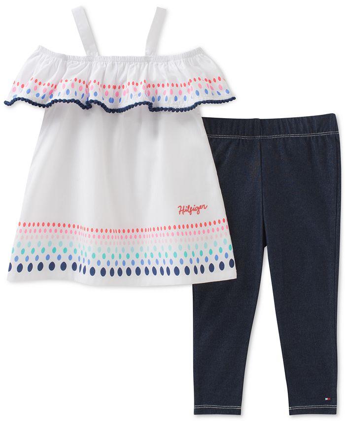 Tommy Hilfiger - 2-Pc. Cotton Peasant Tunic & Denim Leggings Set, Little Girls