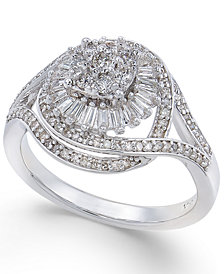 Diamond Starburst Cluster Ring (1/2 ct. t.w.) in Sterling Silver