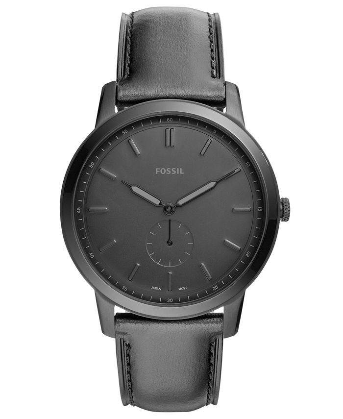 Fossil - Men's Minimalist Black Leather Strap Watch 44mm