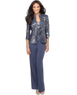 Alex Evenings Suit, Three Quarter Sleeve Sequin Jacket, Sleeveless Sequin Shell Tank & Wide Leg Jersey Pants Evening Suit