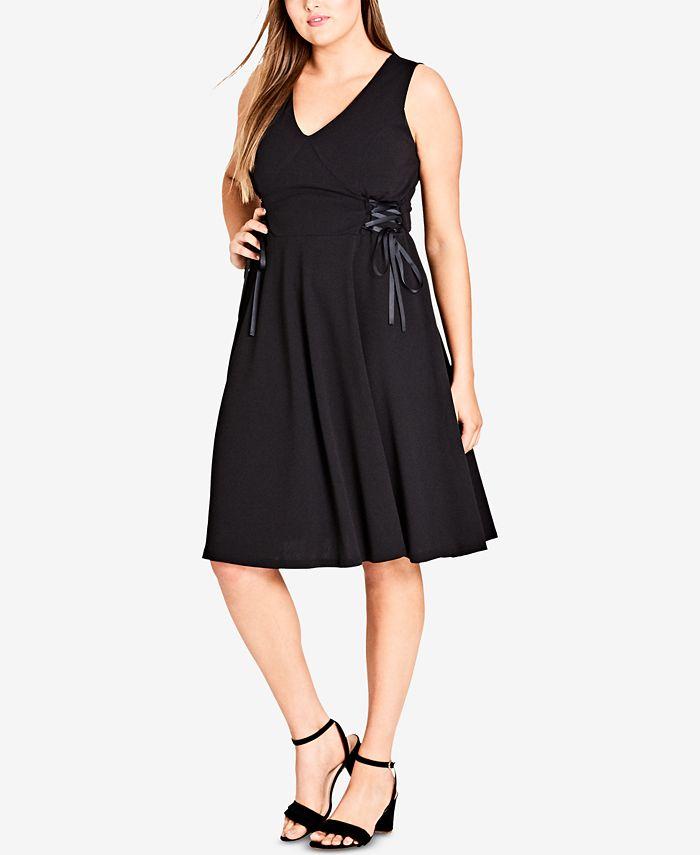 City Chic - Trendy Plus Size Sleeveless Lace-Up Dress
