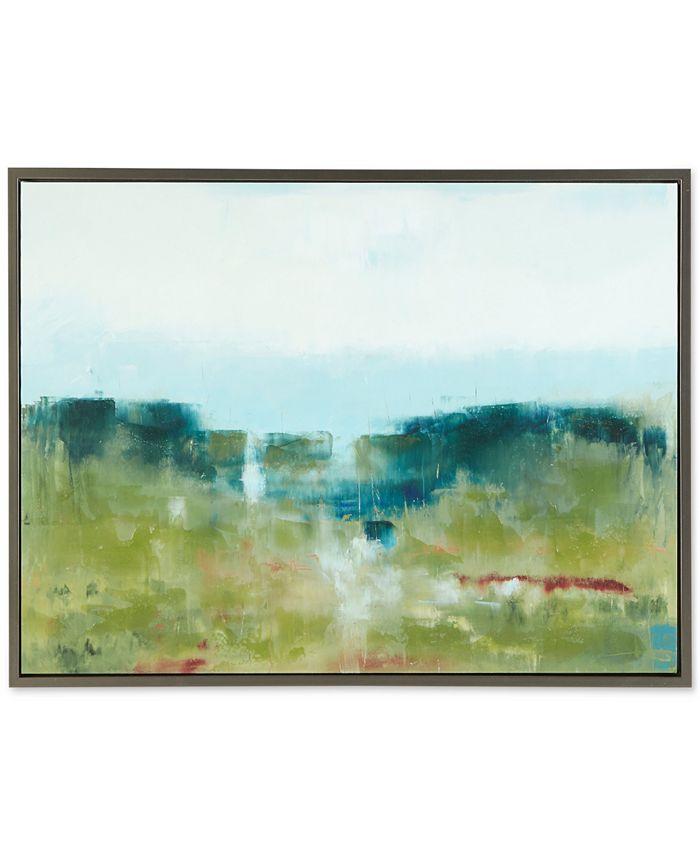 JLA Home - Madison Park Signature Morning Fields Green Framed Hand-Embellished Canvas Print