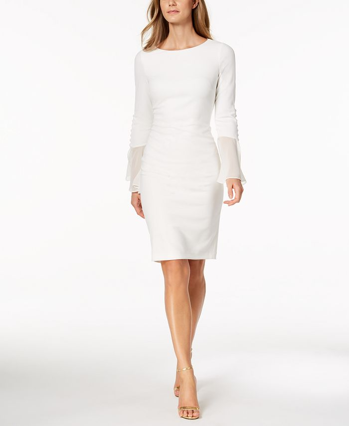 Calvin Klein - Petite Chiffon Bell-Sleeve Sheath Dress