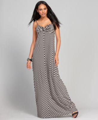 INC International Concepts Dress, Sleeveless Spaghetti Strap Chevron Striped Empire Waist Maxi