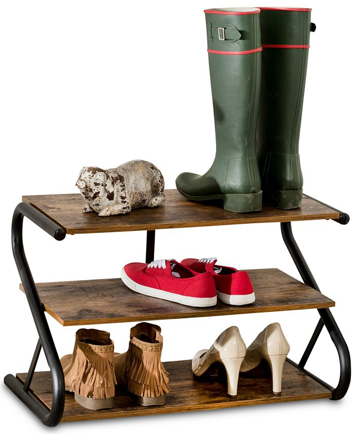 Honey Can Do - Rustic 3-Level Shoe Rack