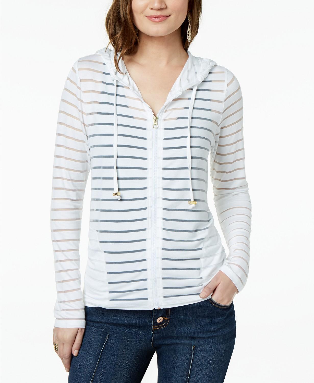 INC Shadow-Stripe Front-Zip Hoodie, Created for Macy's