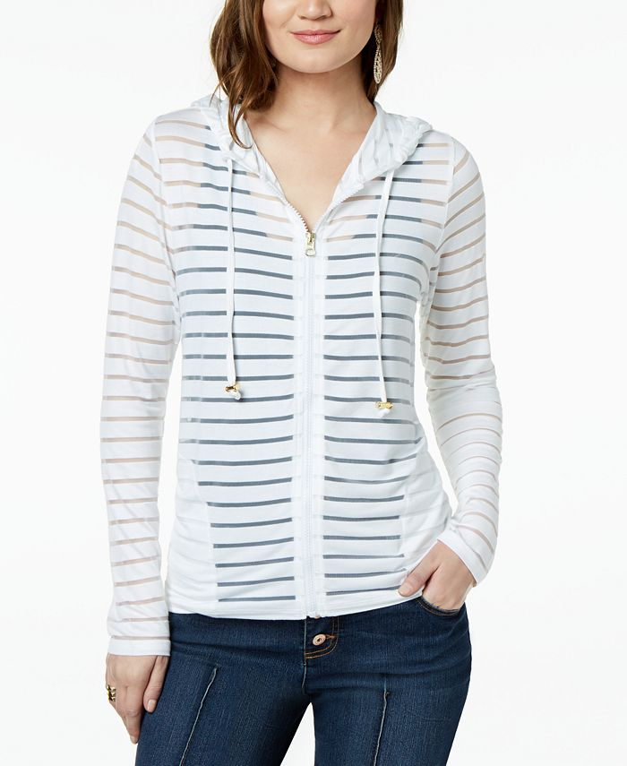 INC International Concepts - Shadow-Stripe Front-Zip Hoodie