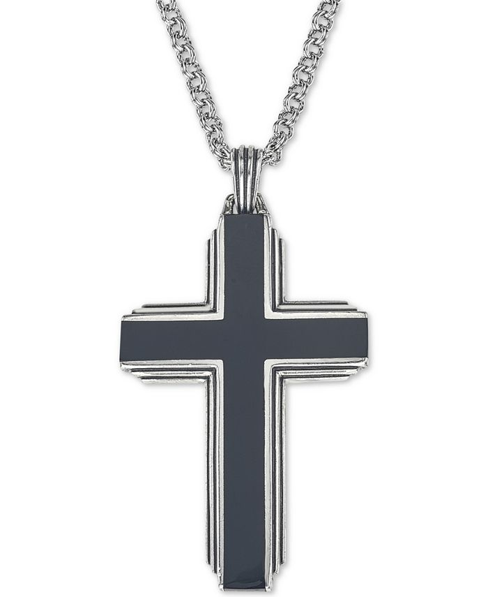 """Esquire Men's Jewelry - Black Onyx Cross 22"""" Pendant Necklace in Sterling Silver"""