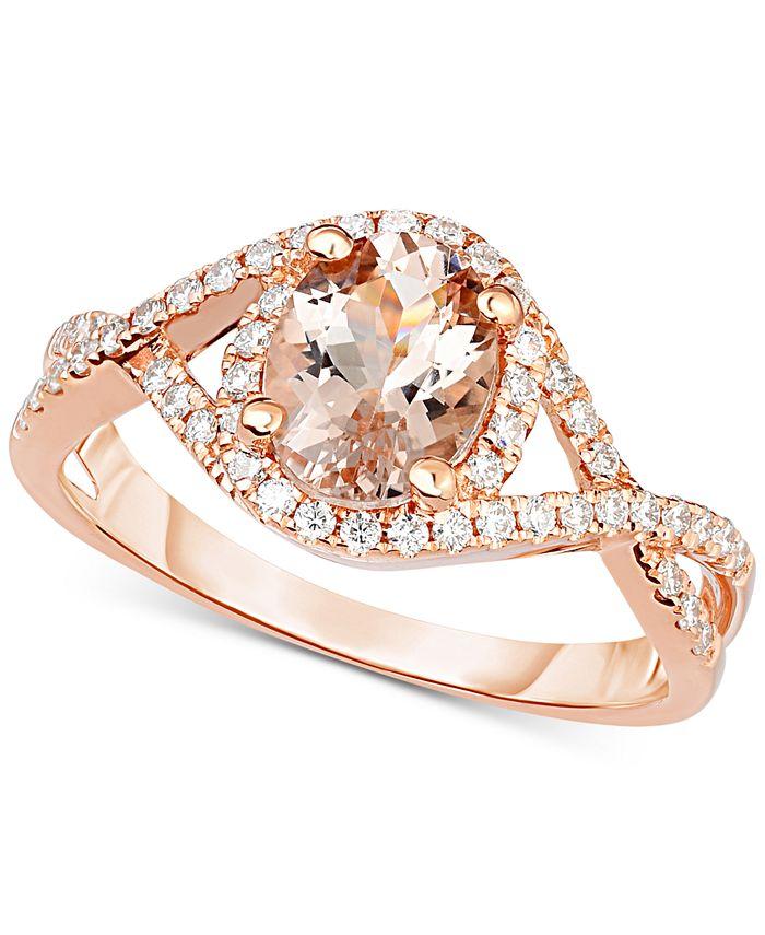 Macy's - Morganite (1-1/5 ct. t.w.) & Diamond (1/3 ct. t.w.) Ring in 18k Rose Gold