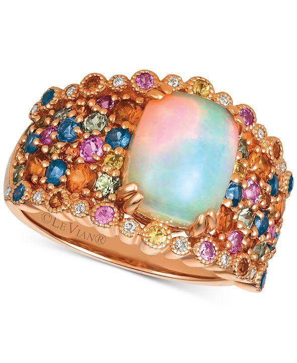 Le Vian Rainbow Multi-Gemstone (3-1/6 ct. t.w.) & Diamond Accent Ring in 14k Rose Gold