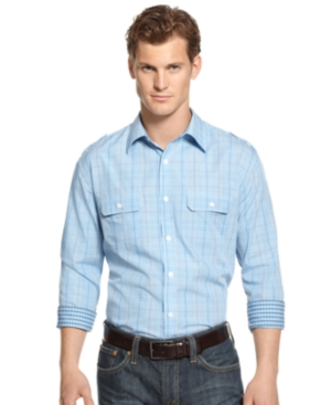 Alfani Shirt, Long Sleeve Toole Plaid
