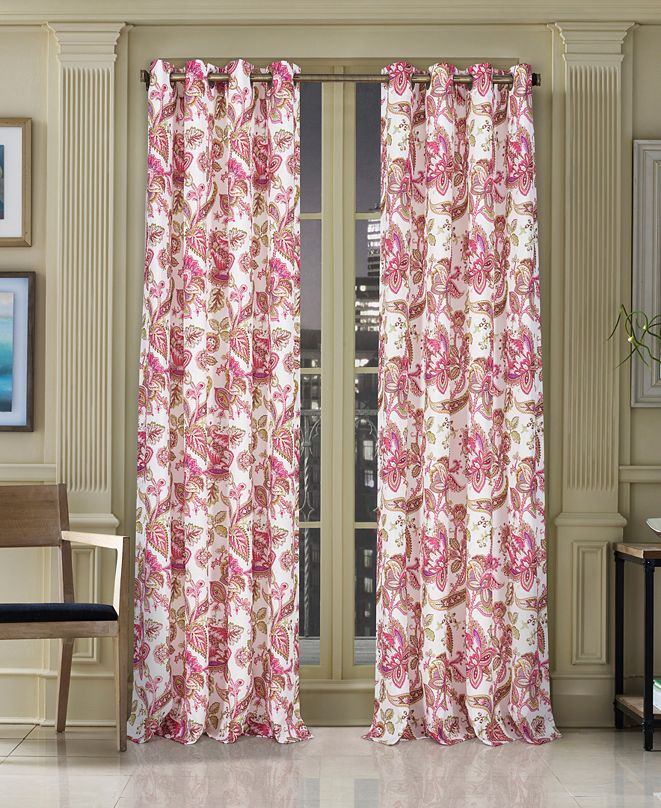"""J Queen New York CLOSEOUT! Pristina 50"""" x 84"""" Floral-Paisley Grommet Curtain Panel"""