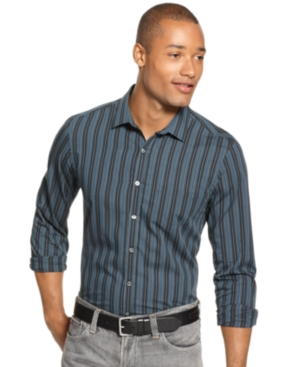Alfani Shirt, Slim Fit Mahon Stripe Long Sleeve Shirt