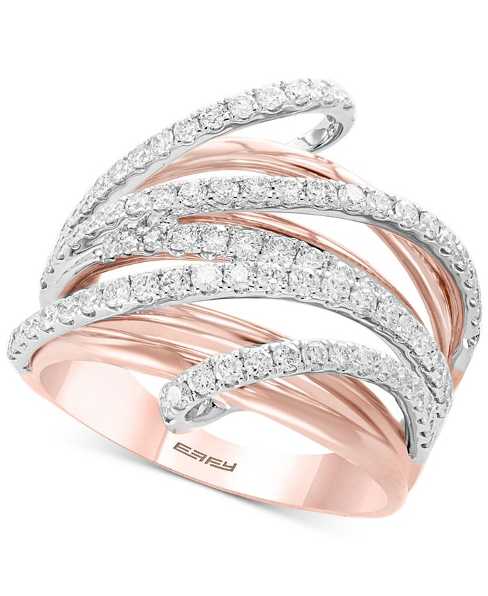 EFFY Collection - Diamond Multi-Row Ring (1-1/8 ct. t.w.) in 14k Rose & White Gold