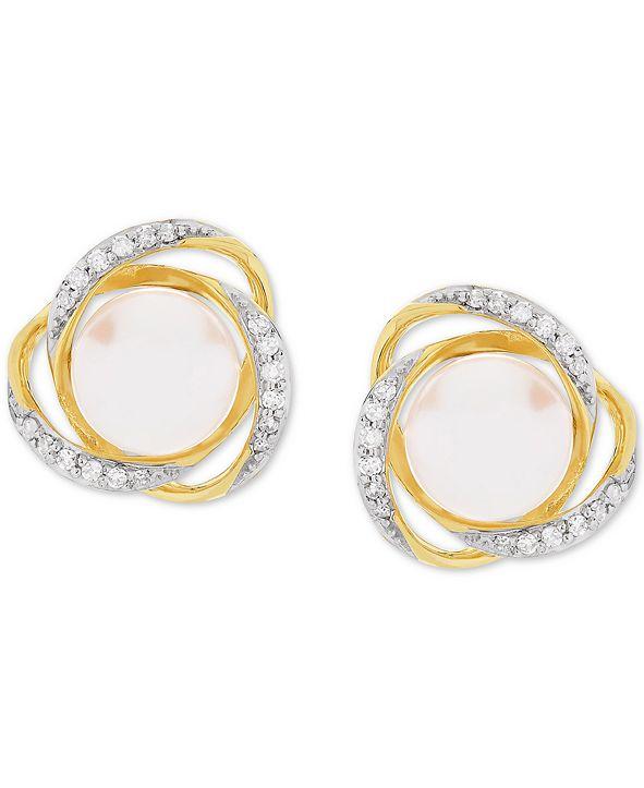Honora Cultured Freshwater Pearl (7mm) & Diamond (1/8 ct. t.w.) Stud Earrings in 14k Gold