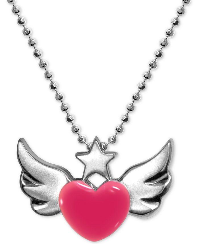 """Alex Woo - Enamel Rainbow Winged Heart 16"""" Pendant Necklace in Sterling Silver"""