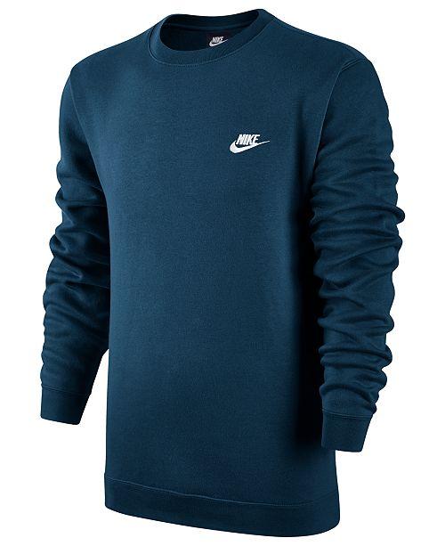 Nike Men's Crewneck Fleece Sweatshirt & Reviews - Hoodies ...
