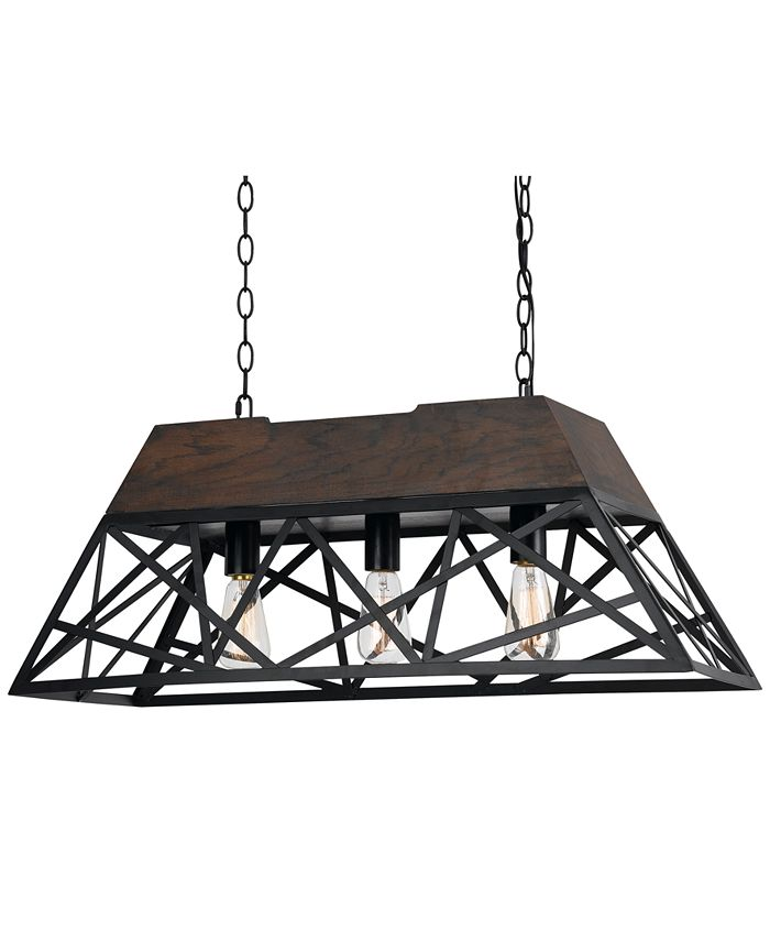 Cal Lighting - 60W 3-Light Antonio Wood Chandelier