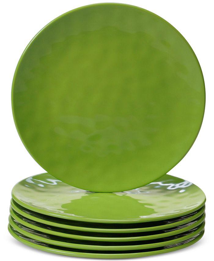 Certified International - 6-Pc. Green Melamine Salad Plate Set