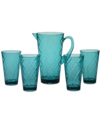 Teal Diamond Acrylic 5-Pc. Drinkware Set